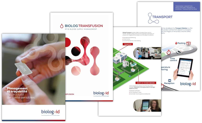 Nombreuses brochures depuis 2015 pour BIOLOG-ID, spécialiste RFID.