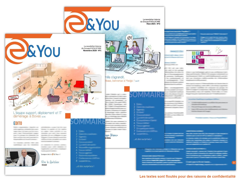 Newsletter internes réalisées pour le Groupe Evolucare