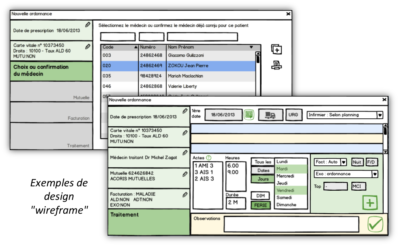 Exemple de design wireframe